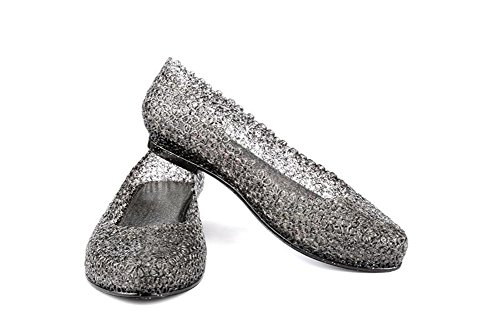 The Original Skidders Womens Glitter Crystal Ballet Flat Jelly Shoes (6 M, Black)