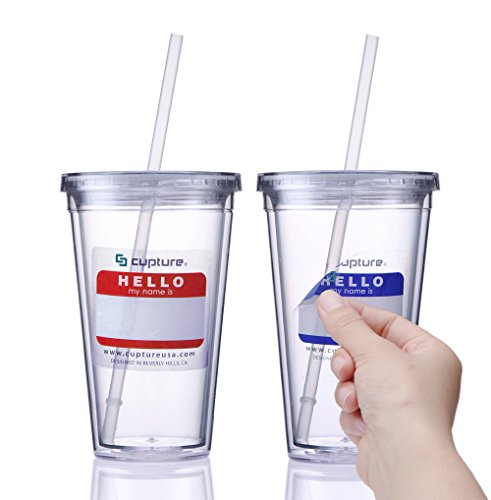 Cupture Classic Insulated Double Wall Tumbler Cup with Lid, Clear, 16 oz, 2 Pack