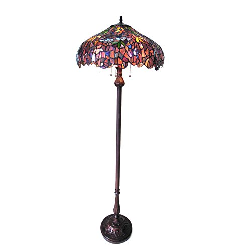 - Stained Glass Katie Wisteria Tiffany Style Floor Lamp Shade