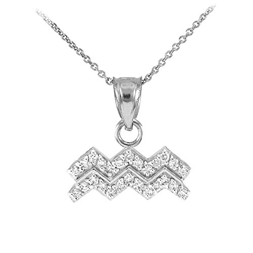 High Polish 14k White Gold Diamond Aquarius Zodiac Pendant Necklace, 18