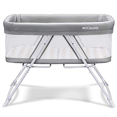 MiClassic All mesh 2in1 Stationary&Rock Bassinet One-Second Fold Travel Crib