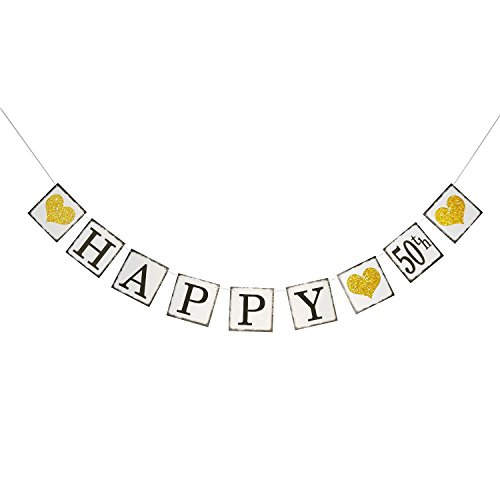 Vintage Happy 50th Birthday Banner – 50th Wedding Anniversary Decorations - Milestone Birthday Party - Banner 50th Anniversary