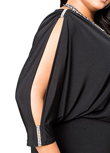 Damen Kleid Elegant Abendkleid Abendmode Cocktailkleid auch Große Größen Übergröße, Partykleid Festlich Dinner Abendgarderobe Ärmel offen verziert Swarovski Steine