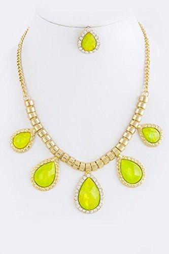 KARMAS CANVAS NACRE TEARDROP NECKLACE SET (Yellow) (Custom Costume Hip Hop Jewelry)