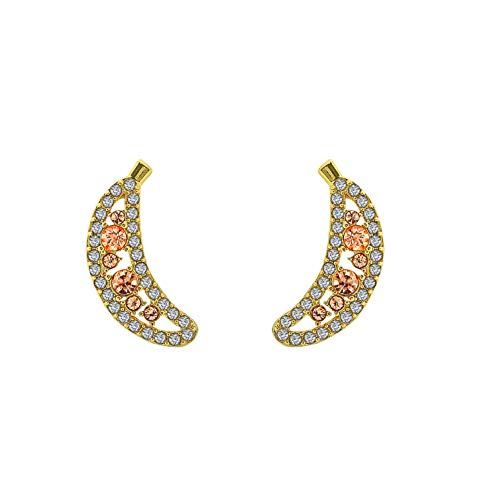 6TH AVE Fruit Collection - 14K Gold Plated Banana With Yellow and Peach Crystal Stud Earrings