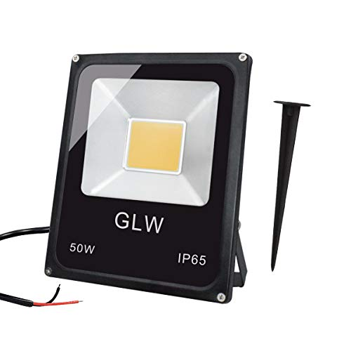 GLW 50W LED Flood Light 12v60v Landscape Lights Outdoor Waterprrof IP65 Warm White Outdoor Spotlight with Spike Stand
