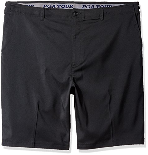 PGA TOUR Men's Big & Tall Flat Front Active Waistband Short, Caviar, 44