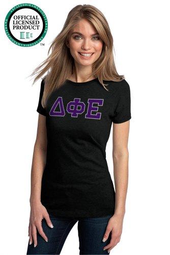 Ann Arbor T-shirt Co. Women's DELTA PHI EPSILON Fitted T-Shirt Purple Letters