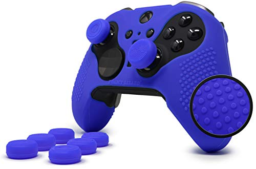 Elite Series 2 Studded Grip Skin Set for Xbox One Elite Series 2 Controller (Not for Series 1) by Foamy Lizard - Sweat Free Silicone w/Flat Top Anti-Slip Studs + 8 QSX-Elite Thumb Grips (Blue)