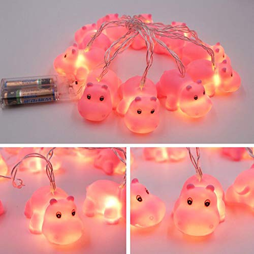 Gugou 1.5M 10 Lights Battery Powered Cute Animal Spotty Dog Shape LED String Lights for Indoor/Outdoor Halloween Christmas Thanksgiving Home Party Children Kids Bedroom Decoration (Hippo) ()