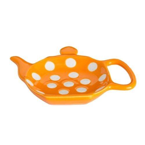 Dexam Polka Spot Dot Ceramic Retro Teabag Holder Caddy in Orange