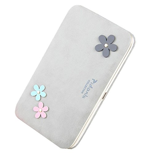 Wristlet Clutch Wallet for Women Flower Hard Wallet Case Long Leather Wallet for 6 inch Cellphone Large Capacity Evening Bag Handbag (Gray) ()