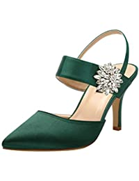Mid Heel Shoes for Women Pointed Toe Slingback Rhinestone...