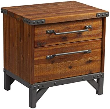 Industrial Rustic Wood and Metal 2 Drawer Side Table Nightstand – Includes Modhaus Living Pen