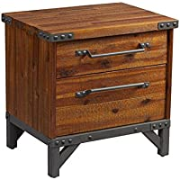 Industrial Rustic Wood and Metal 2 Drawer Side Table Nightstand - Includes Modhaus Living Pen
