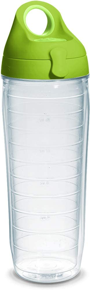 Tervis 1225878 Colorful Insulated Tumbler with Lime Green Lid, 24oz Water Bottle, Clear