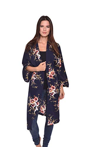 - Lulla Collection Women's Kimono 100% Viscose Super Soft Fabric (Black Floral Vines Print 2)