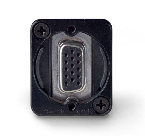 (Switchcraft EHHD15FFB HD15 Female to Female Feedthru Panel Mount Jack, Black)