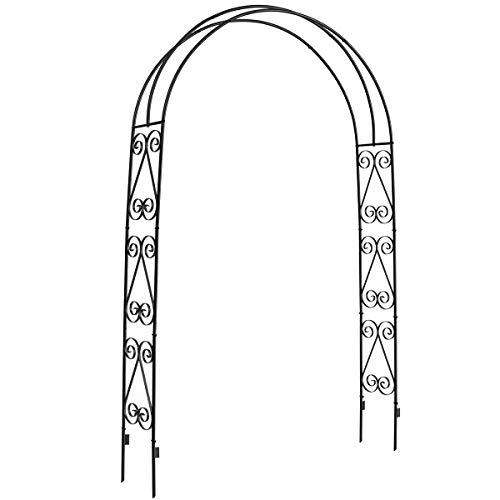DOEWORKS Garden Arch,Garden Arbor for Various Climbing Plant, Outdoor Garden Lawn Backyard, 3' 11''Wide x 7' High, Black (Trellis Garden Arches)