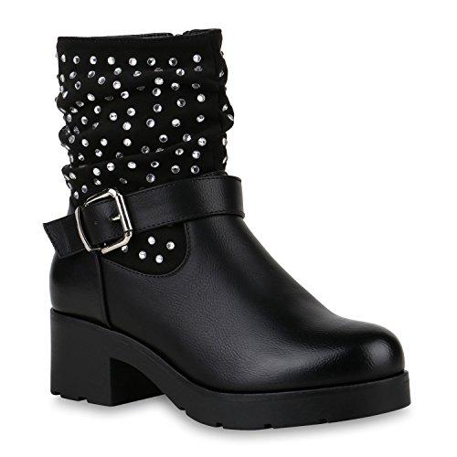 Stiefelparadies Damen Stiefeletten Plateau Boots Lack Schuhe Nieten Blockabsatz Flandell Schwarz Strass