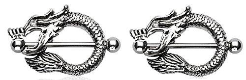 Nipple Ring Bars Dragon Body Jewelry Pair 14 Gauge Pair Sold As Pair [Jewelry] (Shields Dragon Nipple)