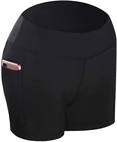 Abracing Femme Yoga Short Taille Haute avec Poches Lat/érales Compression Respirable pour la Course Sport