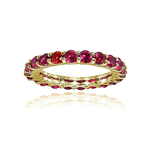 Ice Gems Yellow Gold Flashed Silver Created Ruby 3mm Round-Cut Eternity Band Ring, Size 7