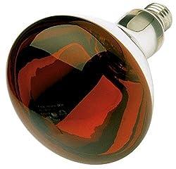 Red Heat Lamp 250 Watts BR40 2,000 Hours Long Life Medium E26 Base Light Bulb Industrial Grade, Red