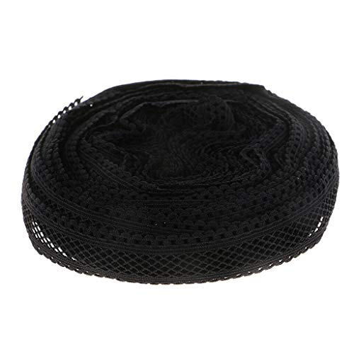 1 Roll 10 Yards 18mm Polyester Elastic Lace Trim for Clothing Headband Decor (Color - Black)