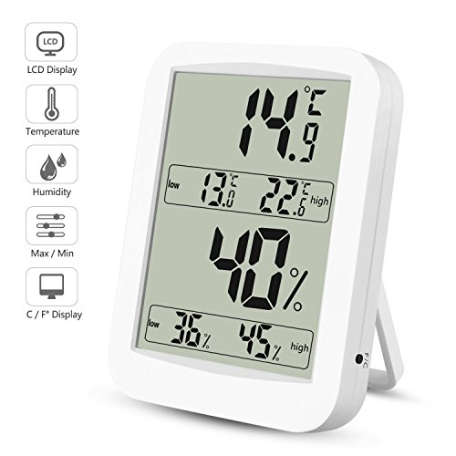 Thermometer Hygrometer, Digitales Thermo Hygrometer Inne Luftfeuchtigkeit Temperatur【LCD Display| Blau Hintergrundbeleuchtung| Touchscreen| Alarm Wecker| Kalender| Uhrzeit| Nowtime】 für Schlafzimmer