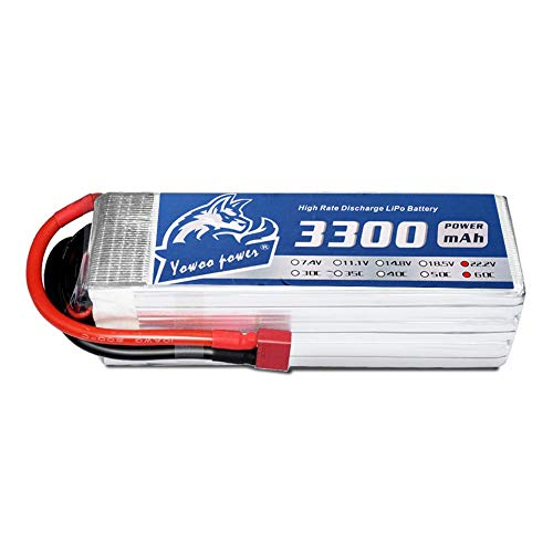 YOWOO 6S Lipo Battery 3300mAh 60C 22.2v RC Batteries with Deans T Plug for AlignTrex 500-550 Helicopter RC Car FPV UAV Quadcopter Boat Truck (Deans T Plug) (Battery Rc Helicopters)