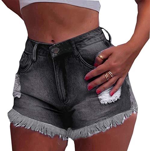 Jumaocio Denim Shorts Women High Waisted Shorts Frayed Hem Stretch Ripped Denim Shorts