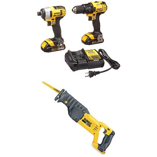 DEWALT Compact Drill and Impact Driver Combo Kit with Reciprocating Saw