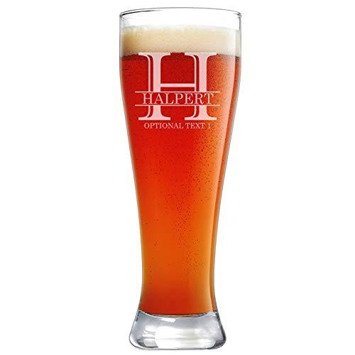 Personalized Etched Monogram 23oz Pilsner Beer Glass ()