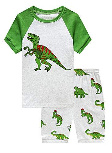 (Family Feeling Little Boys Dinosaur Summer Pajamas Short Sets 100% Cotton Pjs Kid)