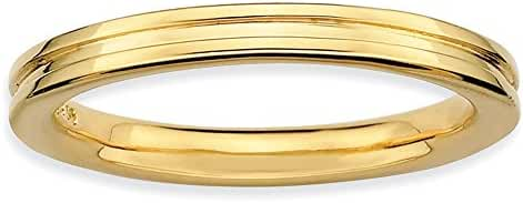 Delightful Silver Stackable 18k Gold-Plated Grooved Band