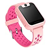 Tounique Kids Smart Watch for Children GPS Tracker Parents Control Camera Games Flash Night Light Touch Anti-Lost SOS Children Bracelet Smartphone Compatible with iPhone Android(Pink,Type 4)