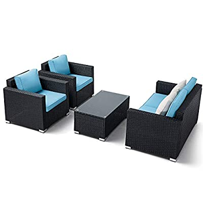 Oakmont 5pcs Outdoor Furniture Patio Conversation Set All Weather Black Brown Wicker Sectional Sofa with Washable Cushion, Glass Coffee Table (Sky Blue) - 【WHAT YOU WILL GET】This 4-piece patio furniture set comes with 2 boxes, includes 2× single chairs, 1×loveseat, 1×table with tempered glass, 8×sky blue cushions, 2×pillows, 1× instruction, and all necessary hardware (assembly required). 【MATERIAL】The black wicker sectional sofa constructed from steel frame and PE rattan wicker. Use durable Olefin outdoor fabric, they have excellent weather resistance and corrosion resistance. 【FEATURES】Removable cushion covers with zippers are easy to rinse. Aluminum feet make the patio sofa more stable. - patio-furniture, patio, conversation-sets - 416ByzJHXmL. SS400  -