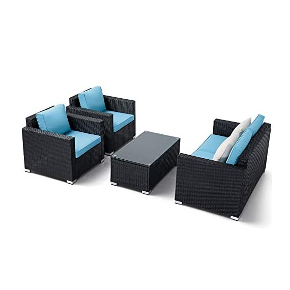 Oakmont Outdoor Patio Furniture 4-Piece Conversation Set All Weather Wicker with Sky Blue Cushion Black Coffee Table Backyard, Garden - 【WHAT YOU WILL GET】This 4-piece patio furniture set comes with 2 boxes, includes 2× single chairs, 1×loveseat, 1×table with tempered glass, 8×sky blue cushions, 2×pillows, 1× instruction, and all necessary hardware (assembly required). 【MATERIAL】The black wicker sectional sofa constructed from steel frame and PE rattan wicker. Use durable Olefin outdoor fabric, they have excellent weather resistance and corrosion resistance. 【FEATURES】Removable cushion covers with zippers are easy to rinse. Aluminum feet make the patio sofa more stable. - patio-furniture, patio, conversation-sets - 416ByzJHXmL. SS570  -
