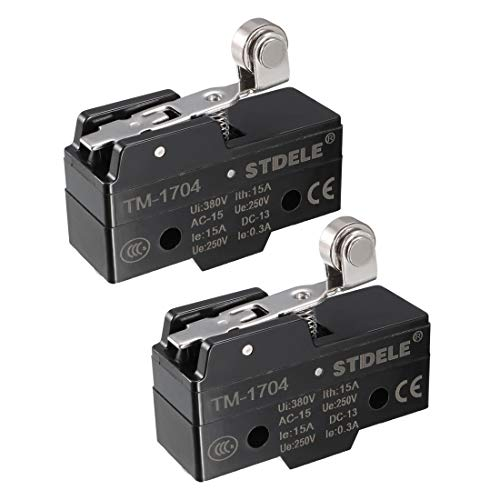 (uxcell 2PCS TM-1704 SPDT 1NO+1NC Panel Mount Short Hinge Roller Lever Type Micro Limit Switch Screw Terminals)