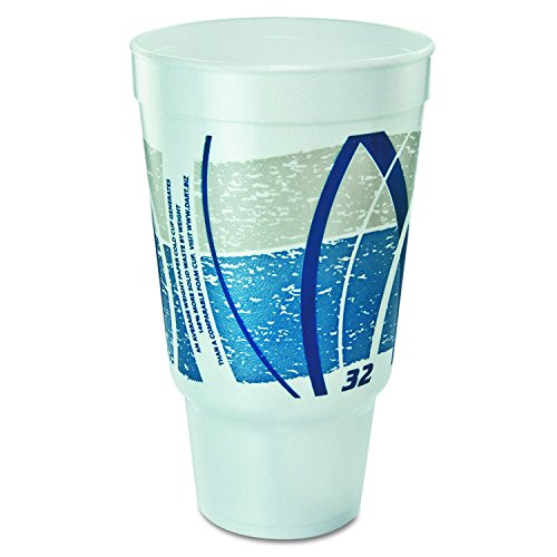 Dart 32AJ20E Impulse Hot/Cold Foam Drinking Cup, 32oz, Flush Fill, Printed, Blue/Gray, 16/Bag ()