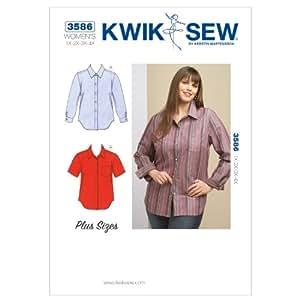 Kwik Sew 3586 - Patrón de costura para blusa de mujer (tallas 1X, 2X, 3X, 4X)