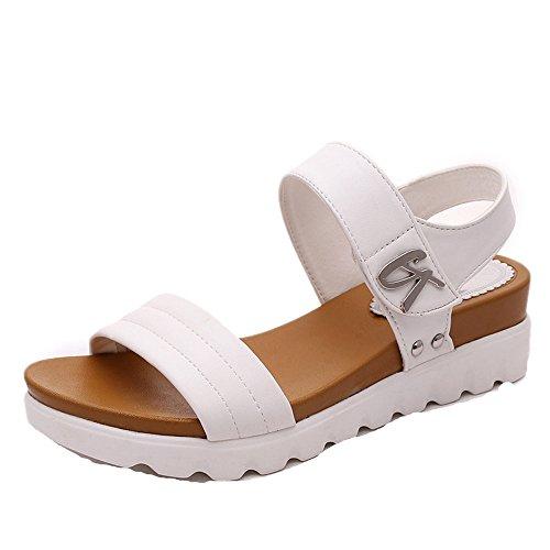 SKY Comfortable to wear it !!!Sandalias planas de las mujeres del verano corteza gruesa 5cm Heel high Blanco