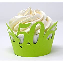 All About Details 50 Cupcake Wrappers, 50th birthday cupcake wrapper(Lime Green)