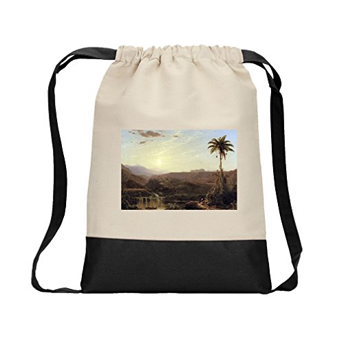 The Cordilleras Sunrise (Church) Canvas Backpack Color Drawstring - Black by Style in Print