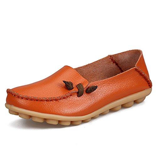 pelle Flats da Casual In Driving Mocassini Scarpe Footwear Donna donna Shoe Arancione Madre Donna Solid Boat vera qxn1Ix0Bw