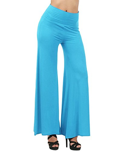 Pantaloni Boemia Donna Gamba Loose Palazzo Azzurro Spiaggia Casual Larga 5AZaw