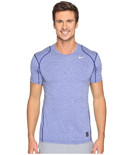 Royal Blue Training Top - Nike Mens Pro Cool SS Fitted Training Top Deep Royal Blue/White 624314-455 Size Small