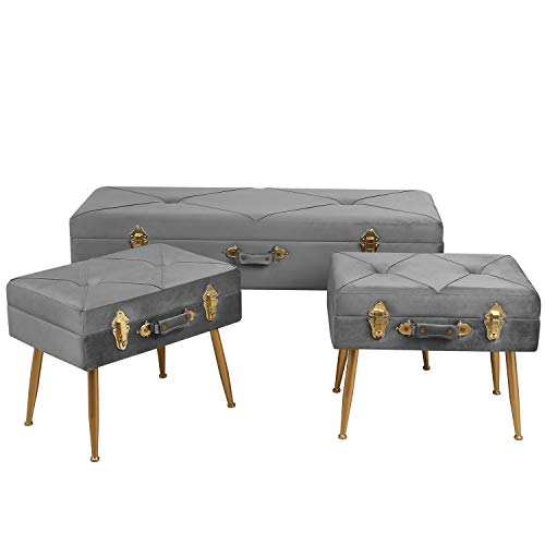 HOMECHO Modern Mid Century Storage Benches Bed Shoe Bench Ottoman Velvet Tufted Foot Stool 41.3 inch, with Metal Leg, 3 pcs Set, Gray (Storage Bench Gold)