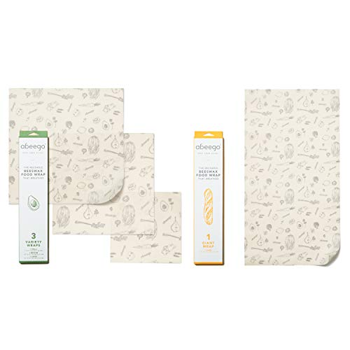 Abeego, The Original Beeswax Food Storage Wrap - Set of Four Natural Square Sheets (S,M,L,XL)